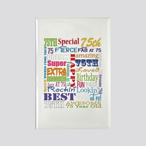 75th Birthday Typography Rectangle Magnet