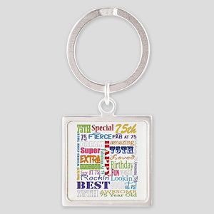 75th Birthday Typography Square Keychain