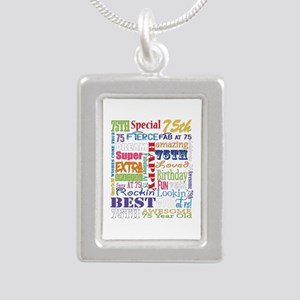 75th Birthday Typography Silver Portrait Necklace