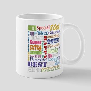 80th Birthday Typography 11 oz Ceramic Mug