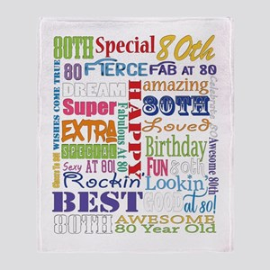 80th Birthday Typography Throw Blanket