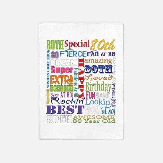 80th Birthday Typography 5'x7'Area Rug