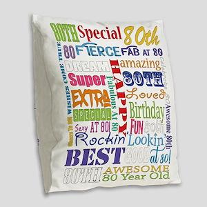80th Birthday Typography Burlap Throw Pillow