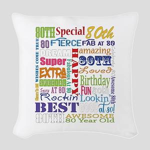 80th Birthday Typography Woven Throw Pillow