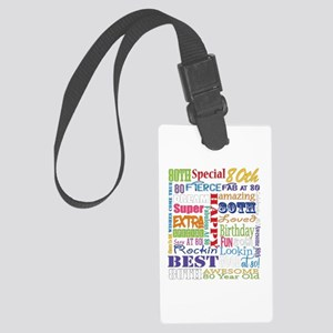 80th Birthday Typography Large Luggage Tag
