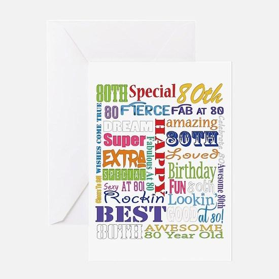 80th Birthday Typography Greeting Card