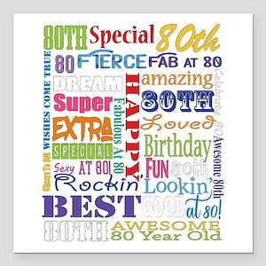 "80th Birthday Typography Square Car Magnet 3"" x 3"""
