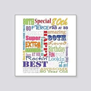 "80th Birthday Typography Square Sticker 3"" x 3"""