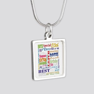 80th Birthday Typography Silver Square Necklace