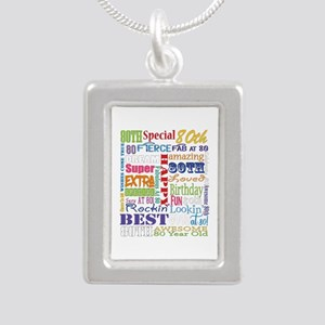 80th Birthday Typography Silver Portrait Necklace