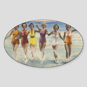 Vintage Long Island Beach Bathing B Sticker (Oval)