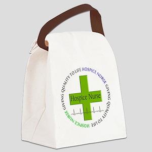 hospice nurse giving qulaity life Canvas Lunch Bag