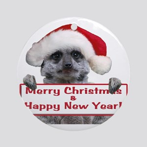 Christmas Meerkat Round Ornament