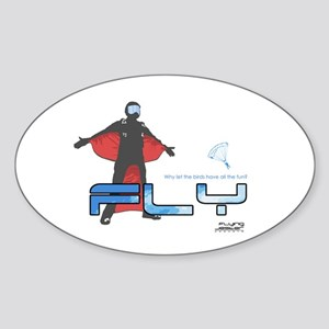 Fly Wingsuit Skydiving Oval Sticker