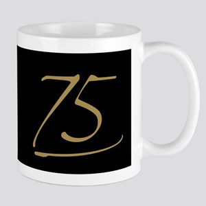 Black & Gold 75th Birthday Mug