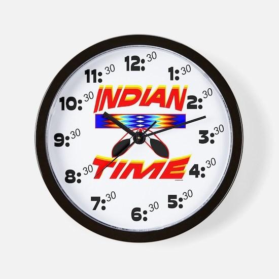 NATIVE AMERICAN CLOCK INDIAN TIME Wall Clock