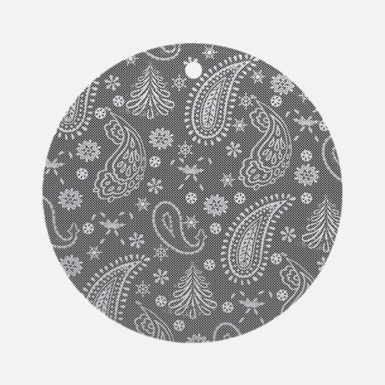 Christmas paisley silver Round Ornament