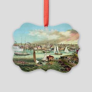 Vintage Newport Beach Picture Ornament