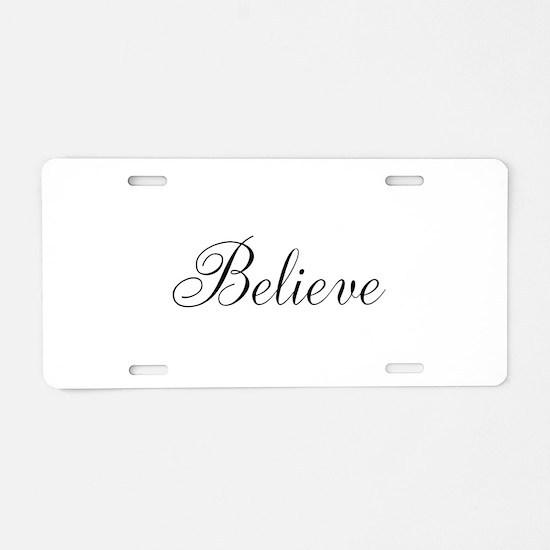 Believe Inspirational Word Aluminum License Plate