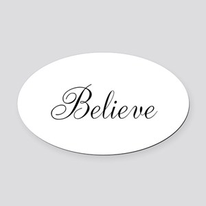 Believe Inspirational Word Oval Car Magnet