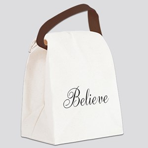 Believe Inspirational Word Canvas Lunch Bag