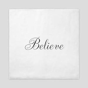 Believe Inspirational Word Queen Duvet