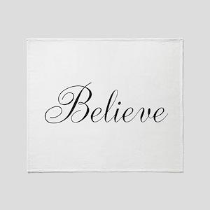 Believe Inspirational Word Throw Blanket