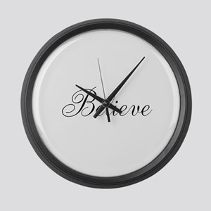 Believe Inspirational Word Large Wall Clock