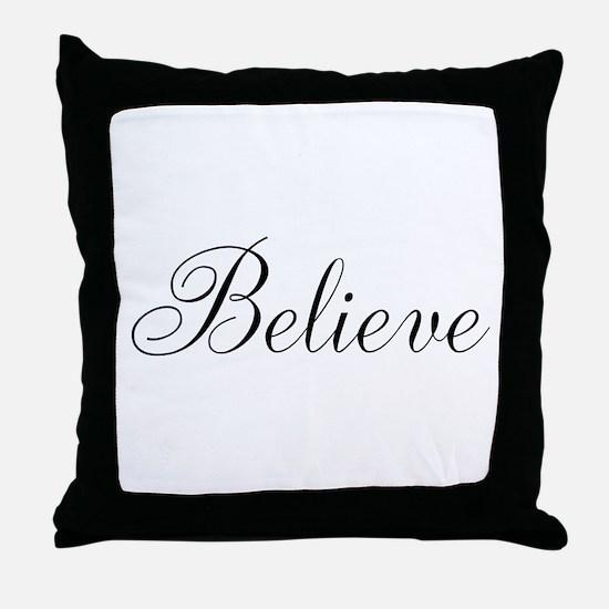 Believe Inspirational Word Throw Pillow