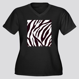 Zebra Stripe Women's Plus Size Dark V-Neck T-Shirt