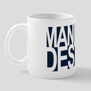 manifest destiny white on navy Mug