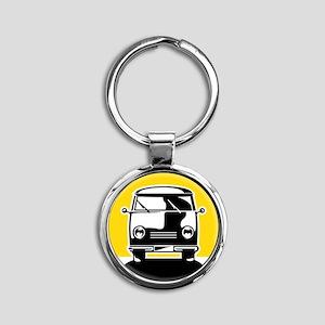 Minivan in Sunset 1 Round Keychain