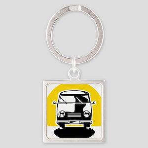Minivan in Sunset 1 Square Keychain