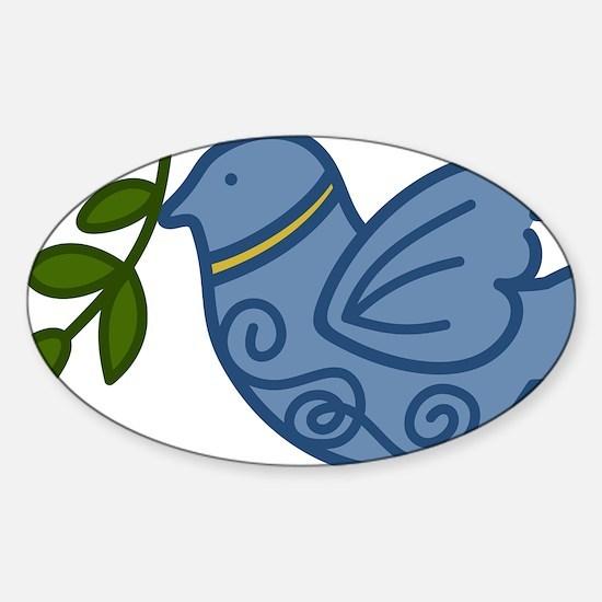 Holiday Peace Bird Sticker (Oval)
