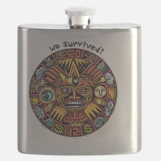 We Survived!2012 Mayan Calendar Flask