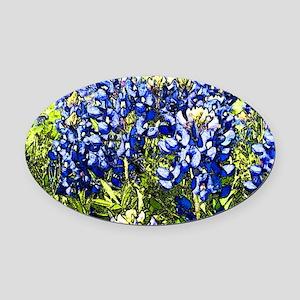 Texas Bluebonnets Oval Car Magnet