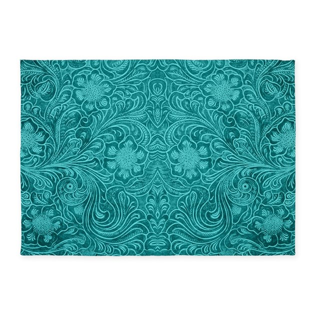 Leather Floral Turquoise 5'x7'Area Rug By ADMIN_CP63016328