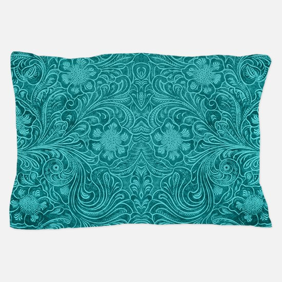Leather Floral Turquoise Pillow Case