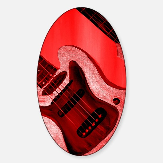 Bold Red Guitar Sticker (Oval)