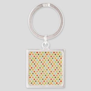 Faded Rainbow Polka Dot Square Keychain