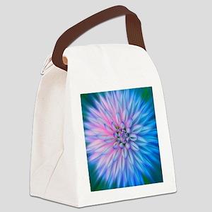 Blue Starburst Flower Canvas Lunch Bag
