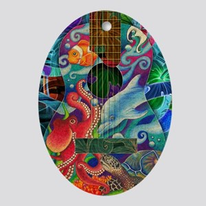 Ocean guitar Oval Ornament