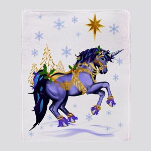 Bright Christmas Unicorn Throw Blanket