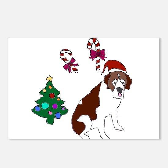 Christmas St. Bernard Dog Postcards (Package of 8)