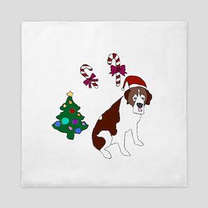 Christmas St. Bernard Dog Queen Duvet