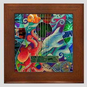 ocean-print Framed Tile