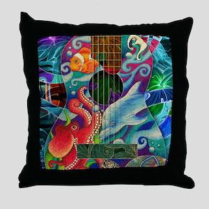 Ocean guitar Throw Pillow