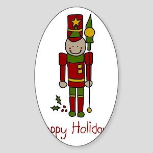Holiday Nut Cracker Sticker (Oval)