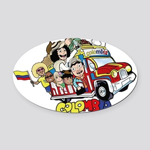 Colombian Chiva Oval Car Magnet