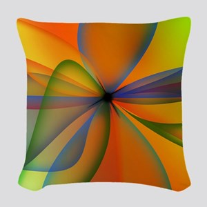 Orange Swirl Flower Woven Throw Pillow